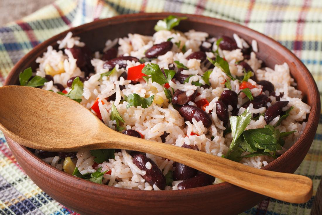 Pinto beans and rice salad in bowl