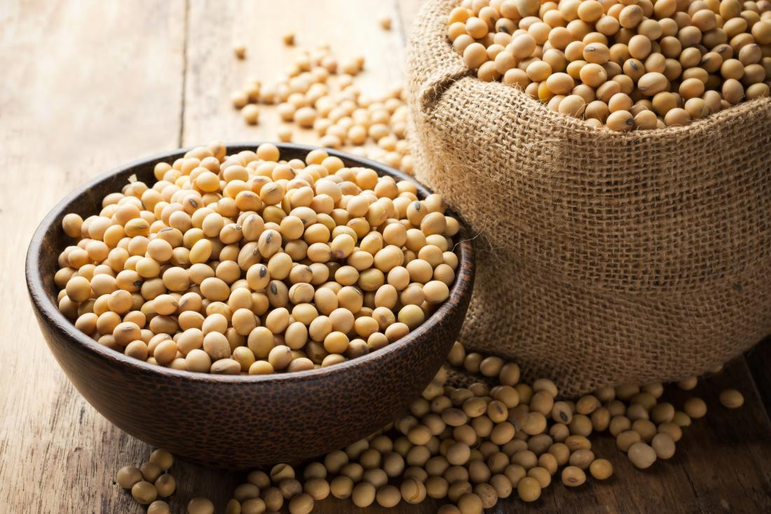 Dried soybeans in sack and bowl