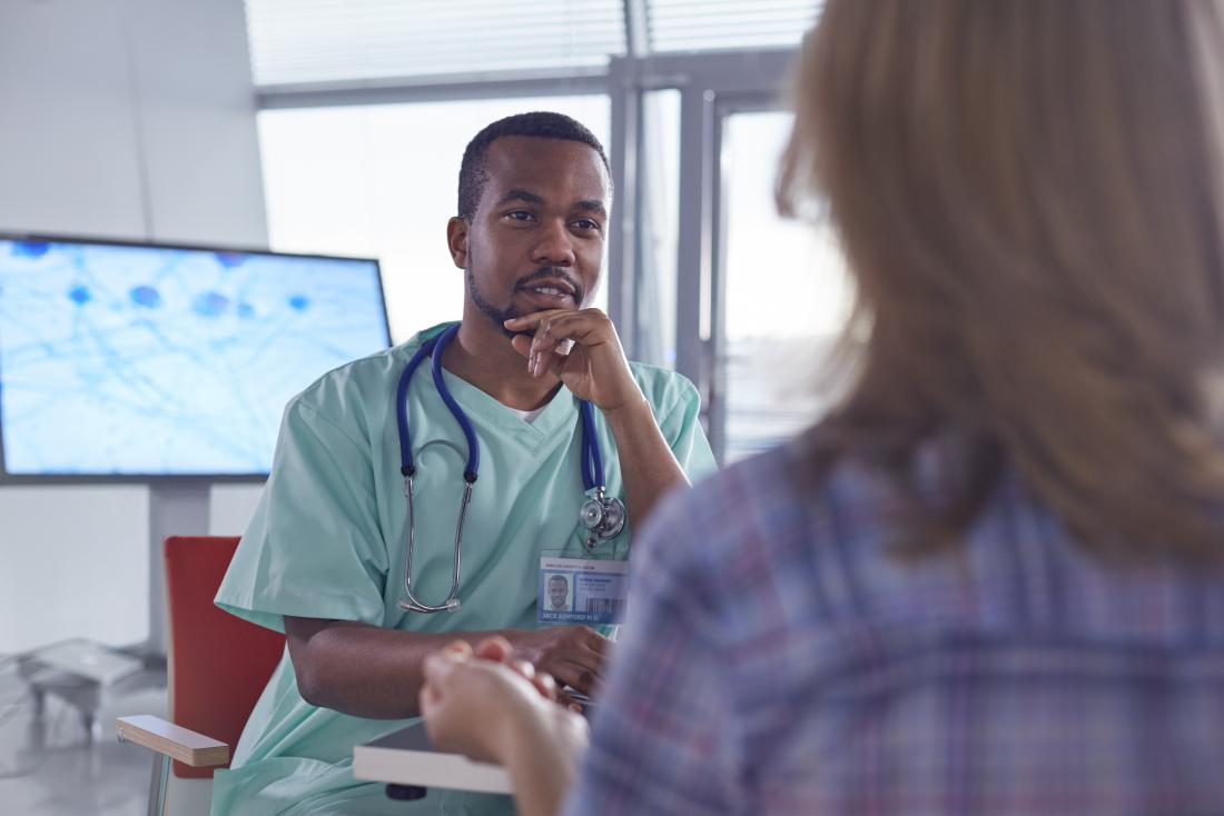 Doctor or surgeon speaking to female patient